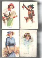 Set of 4 Vintage Postcard Artist Signed Court Barber  /473