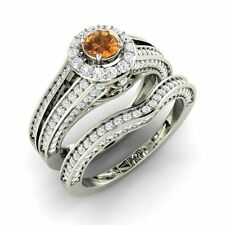 Certified 1.29 Cts Citrine and Real Diamond 14k White Gold Halo Bridal Ring Set