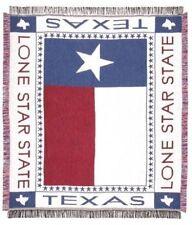 "Texas Lone Star"" Flag Afghan Throw Blanket 48 x 60"