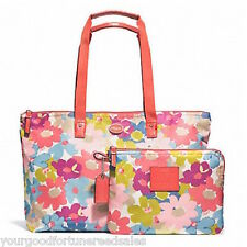 New COACH NYLON PACKABLE WEEKEND Overnight FLORAL F 77321 TOTE Getaway Travel