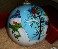 "Snowman, Snowmen Hand Painted Li Bien Glass 3"" Ornament 2014 Pier 1"