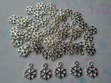 50 pcs Petit plaqué argent Flocon de neige Breloques/Pendentifs 15 x 11 x 1 mm