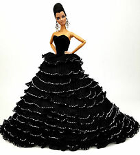 Eaki Black Evening Dress Outfit Gown Silkstone Barbie Fashion Royalty Candi Lace