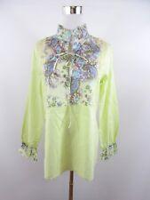 PARISPORT Italian Womens Cotton Green Floral Casual Blouse Top Oversize 10 BH20