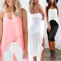 New Women Chiffon Loose Top Sleeveless Vest Blouse Ladies Casual Long Tank Tops
