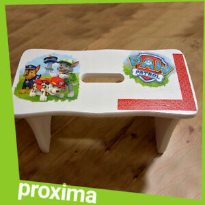 Small Wooden White Stool Bench Chair Furniture for Adult Kids - PAW PATROL