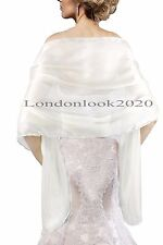 Ladies Lovely Evening Dress Silky White Shawl Bridesmaid Wedding Stole Wrap