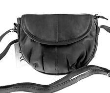 kleine Echt Leder Damen-Tasche  Schultertasche Umhängetasche crossover schwarz
