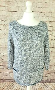 Terre & Mer Cotton Jumper NEW Cut out Back Blue White Knit  Lined Pockets Medium