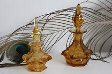 2 Flacons Parfum Cristal BACCARAT Garniture Toilette XIXe Couleur Jaune / Orange
