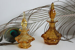 2 Botellas Perfume Cristal Baccarat Borde Baño Siglo XIX Color Amarillo/Naranja