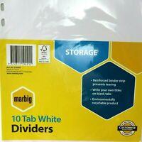 Marbig 10 Tab WHITE Tab Dividers 37400F STORAGE