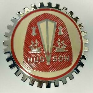 NEW Indoor/Outdoor Hudson Crest Badge Emblem- Adhesive Backed- Chromed Brass