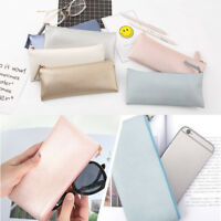 Pencil Case PU Leather Zipped Pen Bag Cosmetic Storage Boy Girl Stationery Pouch
