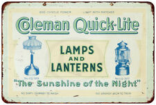 COLEMAN Lamps & Lantern Quick-Lite reproduction metal sign 8 x 12