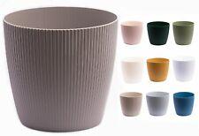 More details for plant pots jumper stripes large small medium round decorative plastic holder