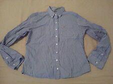 Womens Hollister Dress Shirt L Large Blue Stripes Cotton Button Blouse