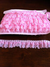 2 INCH  GATHERED LACE ORGANZA WITH  SATIN DETAIL  & SEQUIN  TRIM FROM 99p MT.