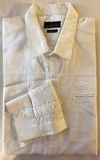 Zara Man White Men Dress Shirt Slim Fit Large 100% Cotton Long Sleeve