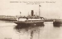 Postcard White Star Line Traffic Ferry Boat at Cherbourg, Leaving Terminal BZ0