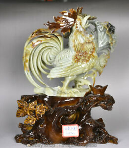 "17 ""Chinois Naturel 100% Xiu Vert Jade Jade Jadeite Coq Coq Animal"