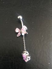Pygmy Pink Butterfly Star Diamond Belly Button Ring - 925 Sterling Silver - New!