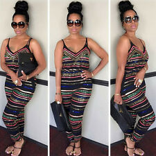 Women V Neck Strappy Striped Jumpsuit Playsuit Romper Casual Long Pants Trousers