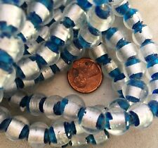 100 TEAL & SILVER FOIL Lampworked Glass Beads 10mm ONE HUNDRED BEADS