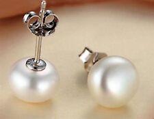 Silberohrringe Ohrstecker 925er Sterling Silber mit Süßwasser Perlen+10-11 mm