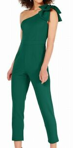 Adrianna Papell Women's Jumpsuit Green Size 8 One Shoulder Bow $179 #548