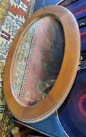VINTAGE OVAL MIRROR PRIMITIVE COUNTRY 25X18 ANTIQUE STYLE WOOD SHAVING VANITY
