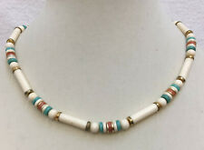 Necklace Choker White Plastic Beads Coral Pink Turquoise Blue Boho Bohemian