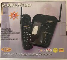 NORTHWESTERN BELL EXCURSION 2 LINE CORDLESS PHONE BLACK 900 MHz 40 CHANL 39213-4