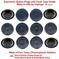 "(Lot of 10) 3/4"" Black Rubber Plugs for Flush Mount Body n Sheet Metal Holes"