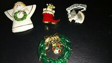 Christmas Brooches Vintage signed & modern Gerrys Poodle Pin, Wreath ,Angels eu