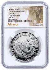 2018 Somalia 1 oz Silver Elephant 100S Coin NGC MS69 ER Elephant Label SKU49896