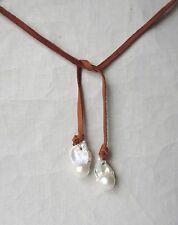 Huge White AA Flameball Pearl and Soft Deer Suede Cord Lariat Necklace Handmade