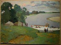 Russian Ukrainian Soviet Oil Painting impressionism seascape tent boat rest