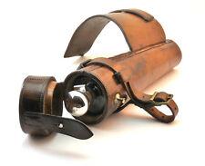 C1890, Antico In Argento & Leather Spirito CACCIA Fiaschetta