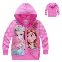 Frozen Elsa Anna Zipped Hoodie Jacket Coat UK STOCK Girls Children's  pink gift