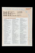 CESSNA Vintage OEM 1980 Hawk XP II Factory Accessories Price List New Perfect