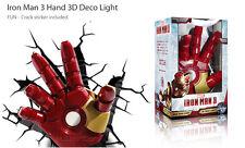 NEW Marvel Avangers Iron Man 3 Hand 3D Deco Wall Art Night Light LED Nite Crack