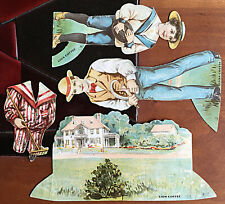 The Lawn 4 piece paper doll scene from Lion Coffee Doll House series 2nd of 16