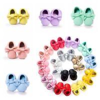 US Infant Boy Girl Toddler Baby Kid Moccasin Tassel Soft Sole Leather Shoes Gift