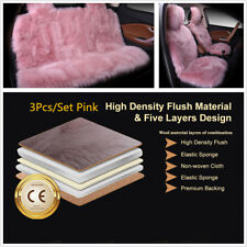 3Pcs/Set Pink Colour SheepSkin Car Long Wool Front Rear Seat Cover Protector