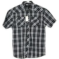 NWT Gioberti Mens Western Shirt Size L Pearl Snap Black White Plaid Rodeo Cowboy