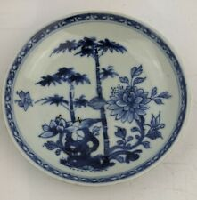 Chinese Antique 18th Century Blue & White Bamboo & Peony Saucer - Nanking Cargo