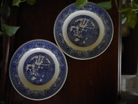 Lot of 2 USA Blue Willow Ware Royal China Ironstone Dinner Plate chip on 1
