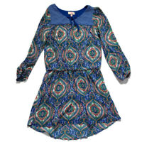 GB Girls Dress Peasant High Low Elastic Waist Lined Blue Paisley Size Large