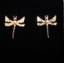 Sterling Silver Mosaic Morher of Pearl Dragonfly Firefly Bug Stud Earrings 20mm